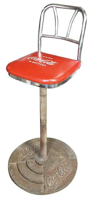Coca-Cola Soda Fountain Stool, chrome back swivel stool