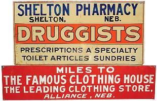 Shelton Pharmacy & The Famous Clothing House tin sig
