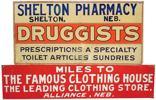 1: Shelton Pharmacy & The Famous Clothing House tin sig
