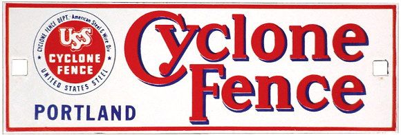 Porcelain Cyclone Fence sign, colorful red, white &