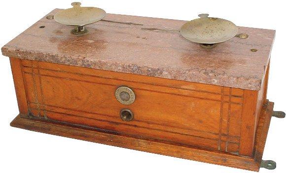 4: Druggist balance scale w/marble top, oak case, missi