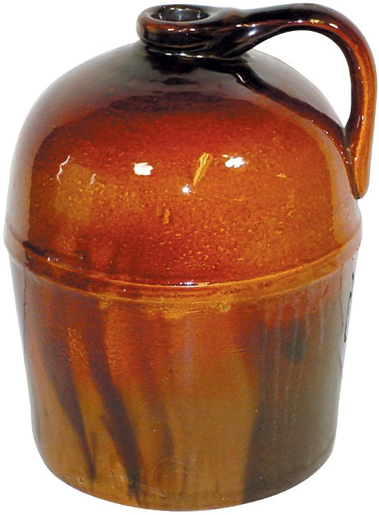 5: Peoria Pottery jug, beautiful brown glaze, marked, E