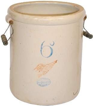 Red Wing 6 gal. big wing crock w/wire bailed handles