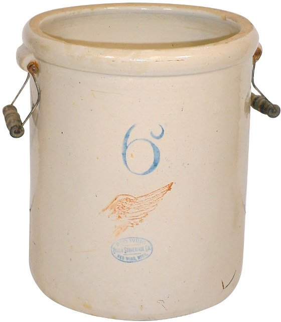 9: Red Wing 6 gal. big wing crock w/wire bailed handles