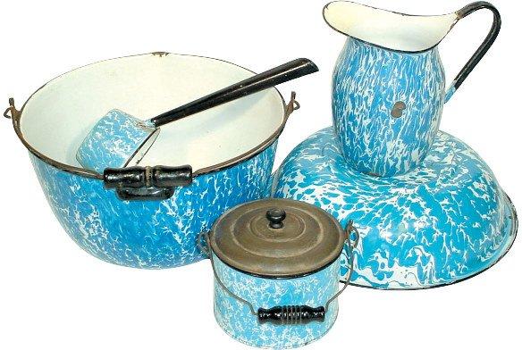 11: Blue & white granite ware (5 pcs.); pitcher, berry