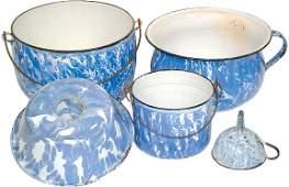 12: Blue & white granite ware (5 pcs.); berry bucket, c
