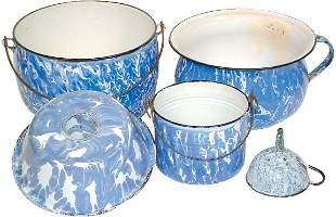 Blue & white granite ware (5 pcs.); berry bucket, c