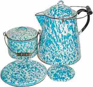 Blue & white granite ware (4 pcs.); coffee boiler w