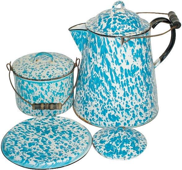 13: Blue & white granite ware (4 pcs.); coffee boiler w