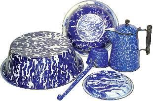 Cobalt blue & white granite ware (5 pcs.); coffee b