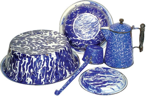 14: Cobalt blue & white granite ware (5 pcs.); coffee b