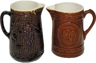 Brown stoneware pitchers (2); Grapes on Trellis & C