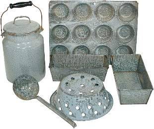 Gray granite ware (6 pcs.); muffin pan, milk bucket