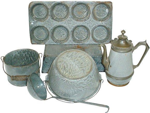 18: Gray granite ware (6 pcs.); unusual gooseneck tea p