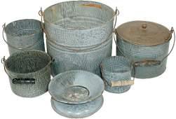 Gray granite ware buckets & spittoon (6 pcs.); buck