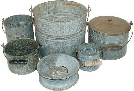 23: Gray granite ware buckets & spittoon (6 pcs.); buck