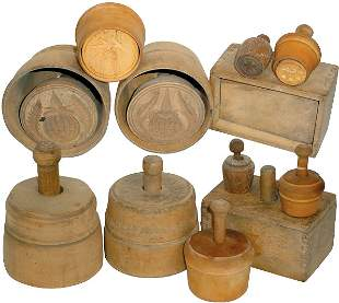 Butter molds (6); all old wooden plunger styles, 2