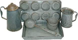 Gray granite ware (6 pcs.); muffin pan, measure, la
