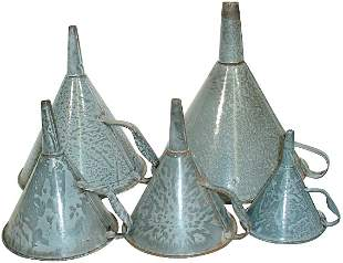 Gray granite ware funnels (5); 4 different sizes, a