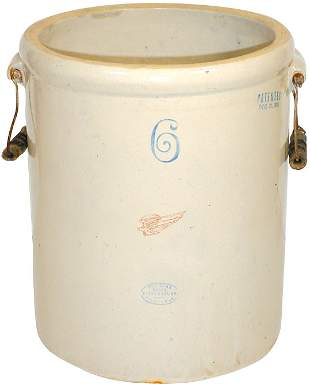 Red Wing 6 gal. small wing crock w/bailed handles,