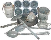 Gray granite ware (9 pcs.); slotted spoon, spatula,