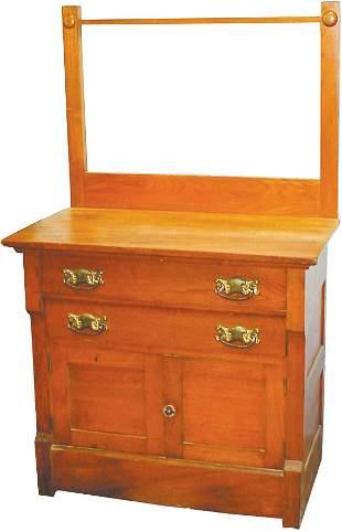 Ash washstand w/towel bar, 2 doors & 2 drawers, VG