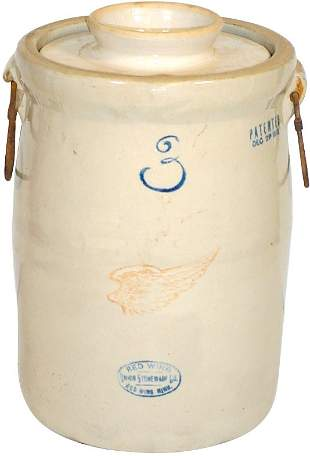 Red Wing 3 gal big wing churn, bailed handles, VG c