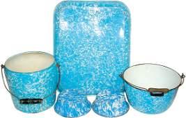 35: Blue & white granite ware (5 pcs.); very large tray