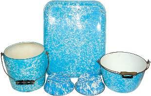 Blue & white granite ware (5 pcs.); very large tray