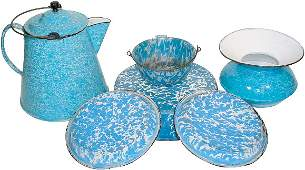 36: Blue & white granite ware (6 pcs.); spittoon, coffe