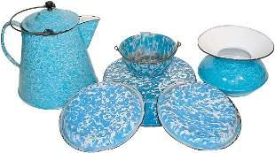 Blue & white granite ware (6 pcs.); spittoon, coffe