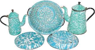 37: Blue & white granite ware (5 pcs.); 2 coffee pots (