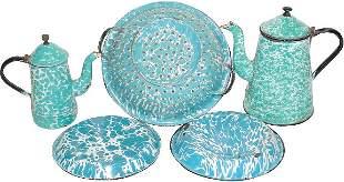 Blue & white granite ware (5 pcs.); 2 coffee pots (