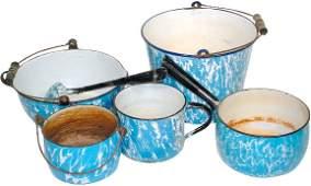 38: Blue & white granite ware (6 pcs.); unusual very la