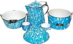 39: Blue & white granite ware (6 pcs.); coffee boiler,