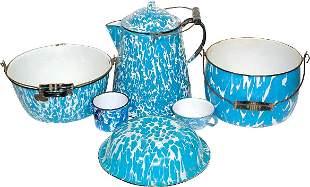 Blue & white granite ware (6 pcs.); coffee boiler,