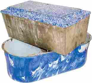 Cobalt blue & white granite ware wash or laundry ba