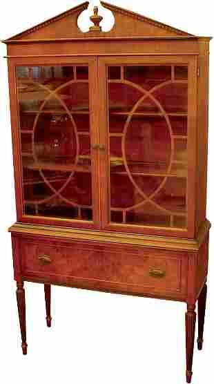 Walnut veneer china cabinet, Federal style, origina