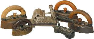 "Irons & fluter (6); cast iron fluter embossed ""Shep"