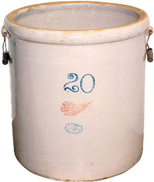 Red Wing 20 gal. big wing crock w/bailed handles, V