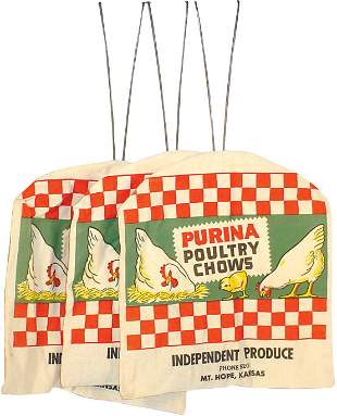 Purina Poultry Chows clothes pin bags (3); new old