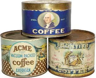 1# coffee tins (3); Frontier Coffee, Honor Coffee (