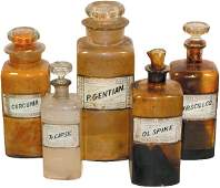 609: Apothecary bottles w/glass labels (5); different s