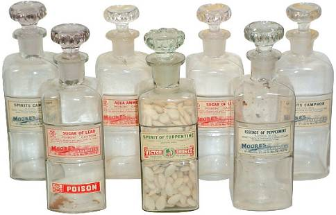 Apothecary bottles w/recessed paper labels (7); 1