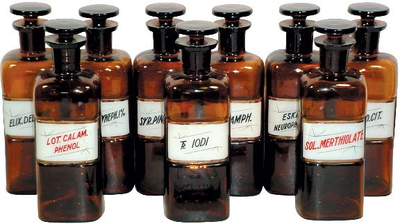 623: Apothecary bottles w/reverse glass labels w/gold l