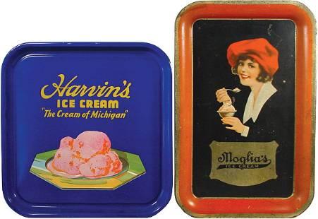 Moglia's Ice Cream & Harvin's Ice Cream trays, Mog