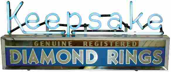 Keepsake Diamond Rings neon dealer sign, blue neon