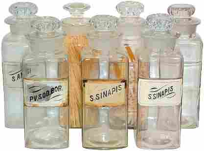Apothecary bottles (7); 4 w/glass labels w/slight