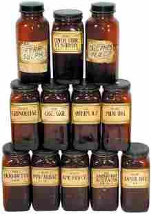 Apothecary bottles (12); brown w/original paper la