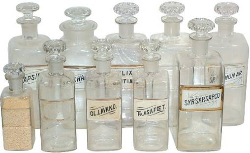Apothecary bottles (10); most w/glass labels, bott